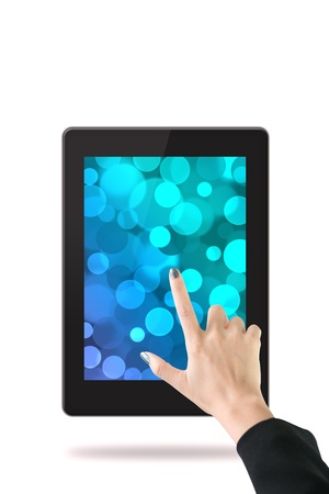 Women hand with tablet computer  Isolated on white background Stock Photo - 15064471