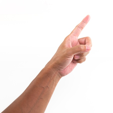 Hand with point finger, isolated on a white background  photo