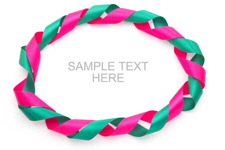 Green and pink gift bow frame  isolated on white background Stock Photo - 15129477