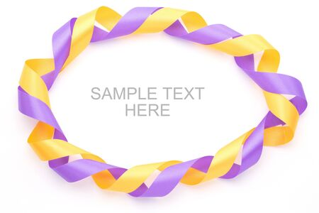 Purple and yellow gift bow frame  isolated on white background Stock Photo - 15129478