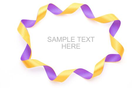 Purple and yellow gift bow frame isolated on white background Stock Photo - 15129465