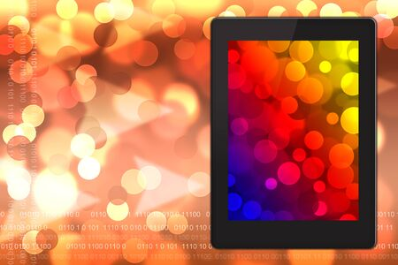 Tablet pc on  blurred bokeh background.  photo