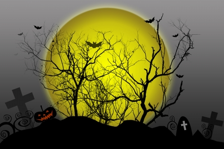 Halloween background silhouettes dead tree on moon  photo