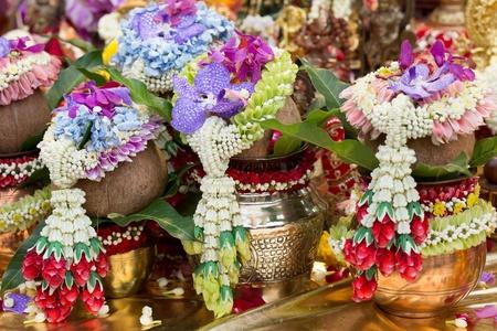 pooja: Beautifully Decorated fruits for Navaratri celebration to worship.  Stock Photo
