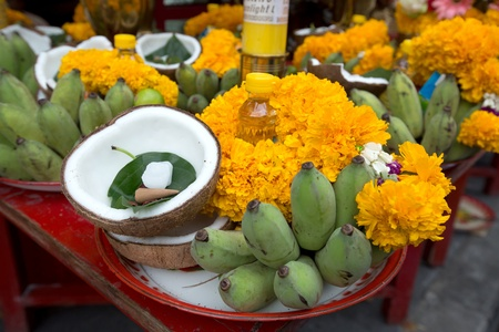 Beautifully Decorated fruits for Navaratri celebration to worship.  photo