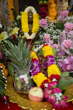Beautifully Decorated fruits and garland for celebration to worship.  photo