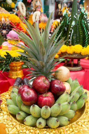 Beautifully Decorated fruits for Deepawali celebration to worship.  photo