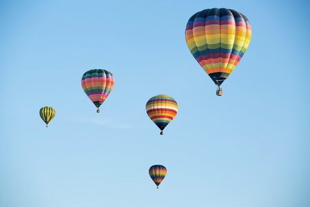 Colorful hot air balloons on the blue sky Stock Photo