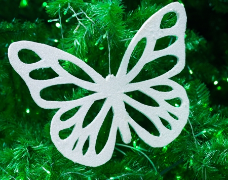 White butterfly use for christmas decoration Stock Photo - 17079221