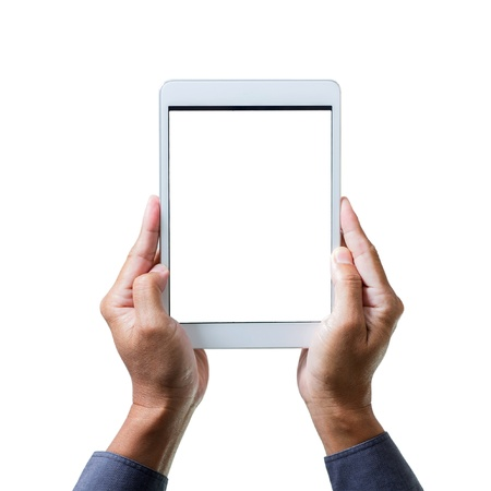 man hands holding a tablet computer gadget with isolated screen Stock Photo - 18306873