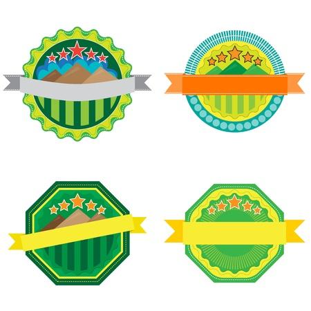 Set of green mountain badge, vector format Stock Vector - 18381866