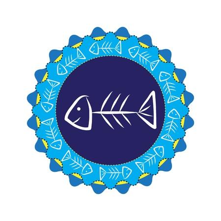 Fishbone on blue badge, vector Vector