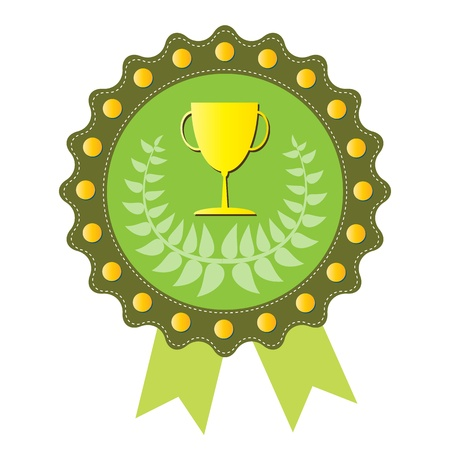 Trophy on  green badge with Olive wreath, vector format Vector