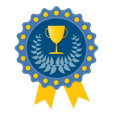 Trophy on  blue badge with Olive wreath, vector format Vector