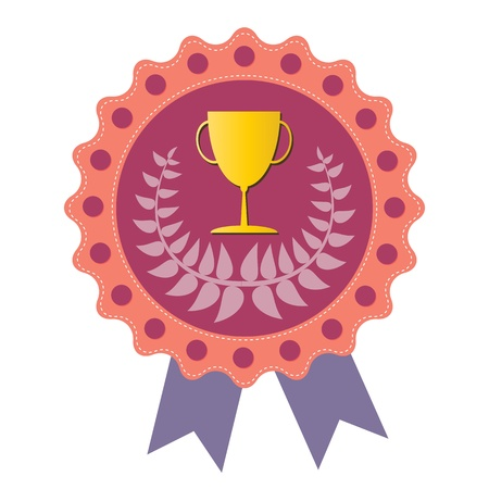 Trophy on  pink badge with Olive wreath, vector format Vector