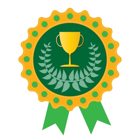 Trophy on  green badge with Olive wreath, vector format Stock Vector - 18458493