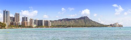 Waikiki beach and hotels with Diamond head mountain panorama  photo