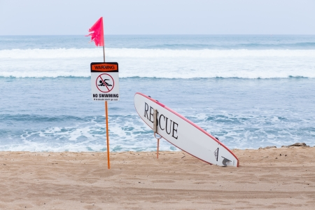 Warning no swimming sign with strong sea wave by the beach background photo