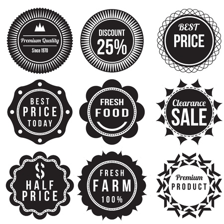 Set of discount and sale price labels, retro vintage styled design badge  Illustration