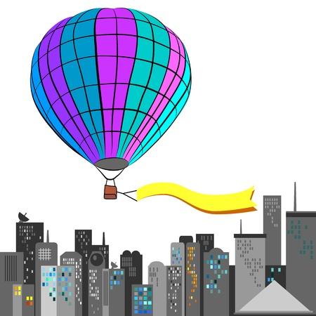 Hot air balloon fly over big city Stock Vector - 19278342