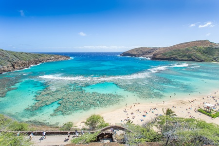 Hanaumabaai, Snorkelen paradijs in Hawaii Stockfoto
