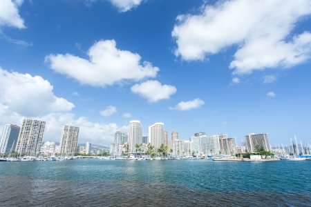 Honolulu cityscape with Waikiki yacht club and seafront