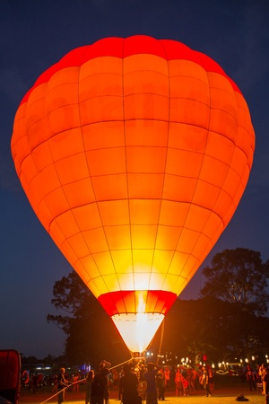 Firing up the Hot air balloon at night photo