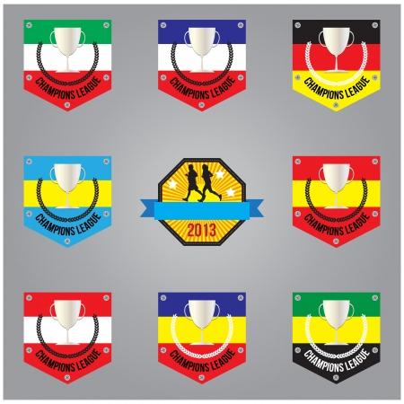 Set of trophy nation flag format Vector