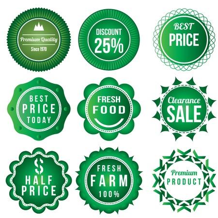 logo de comida: Comida fresca del producto del vintage plantilla de etiquetas tema insignia logo retro plantilla de dise�o verde