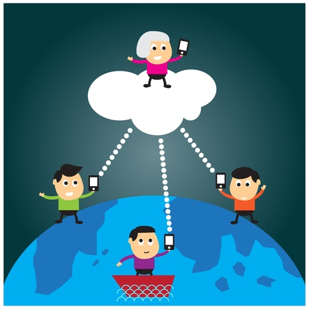 People communication on the worlds, cartoon format Stock Vector - 20611837