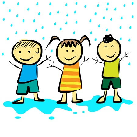 Kids playing in the rain  format Stock Vector - 20612008