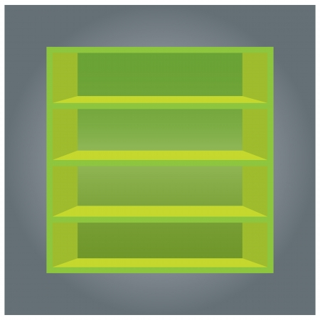 Green book shelf, format Vector