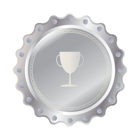 Trophy on  silver badge, label format Stock Vector - 20611971