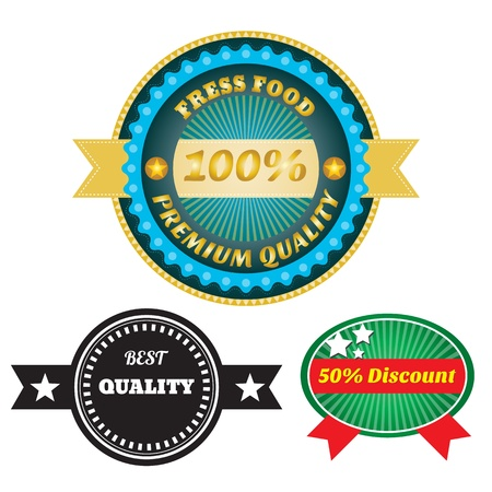 quality product: set of premium quality product and discount Labels, retro vintage styled design Illustration