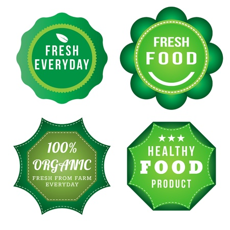 Fresh Food Product Vintage Labels Template Set Green Theme
