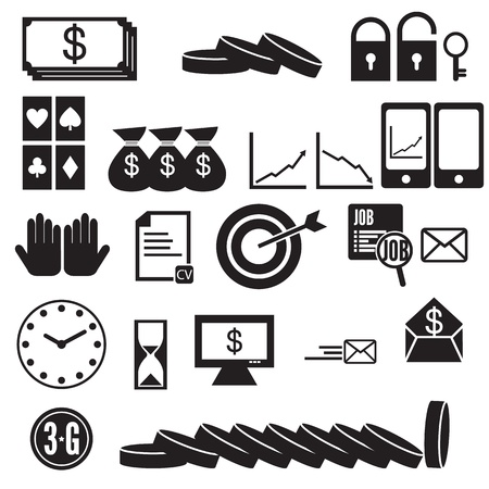 Money and coin and business icon set Illustration