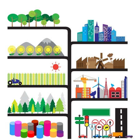 comparisons: City and forest infographic, format Illustration