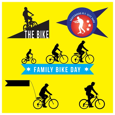 bicycle: set of silhouette bicycle logo badge and banner format