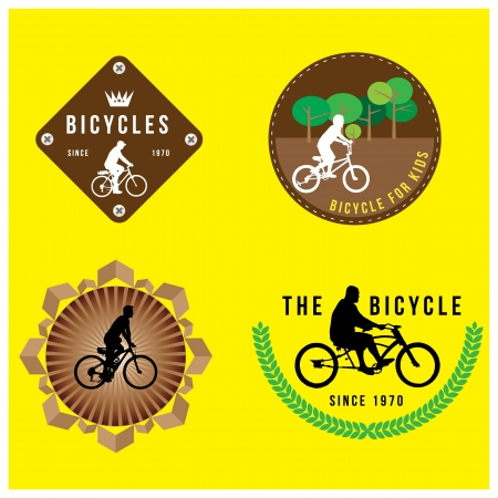 set of silhouette bicycle logo badge and banner format Vector