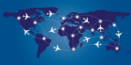 World map with airplane route concept Vector