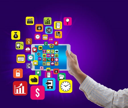 Man hand hold digital tablet with colorful application and social media icon on blue background