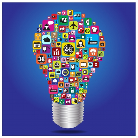 Light bulb with business and social media icon, vector format Illustration