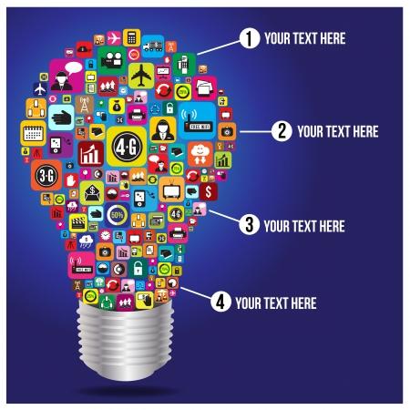bombilla: Bombilla con las empresas y medios de comunicaci�n social iconos infograf�a, formato vectorial Vectores