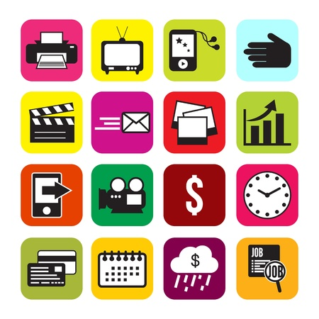 it business: Set colorful icons  it business computer social media Illustration