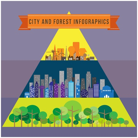 City and forest infographic, vector format Vector