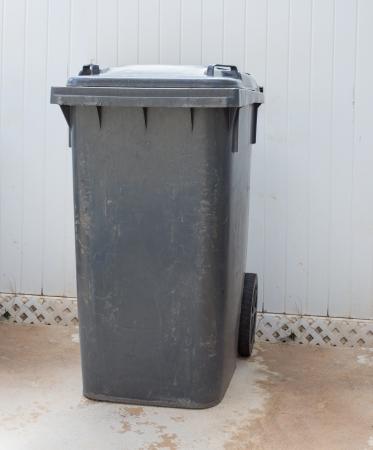 Gray garbage, trash bin