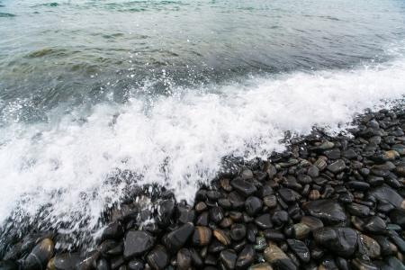 Black stones beach photo