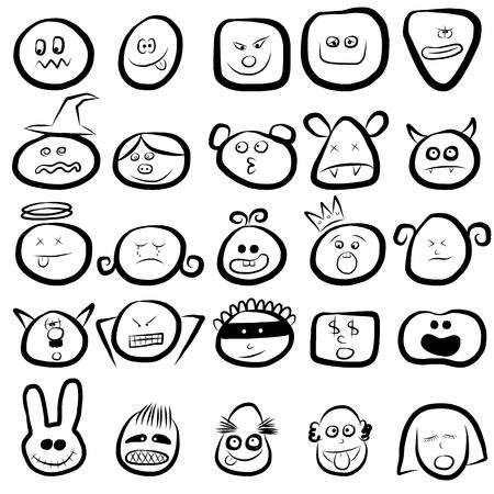 emotion faces icon set Vector