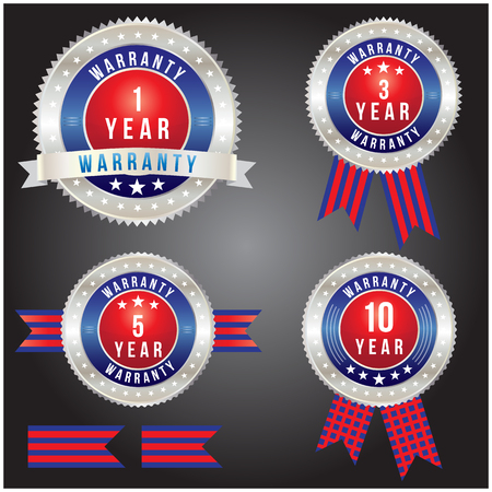 1 year warranty: Badge of year warranty for label and sticker, vector format
