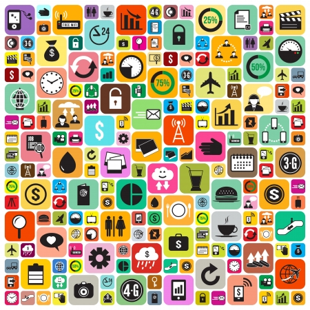 Business and social media icons infographics wallpaper Stock Vector - 22439913